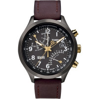 Montre Timex IQ Chronographe Fly-Back noir  – marron Homme T2N931D7