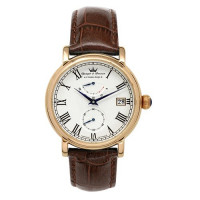 Montre Automatique Yonger & Bresson Homme Blanche Cuir Marron - YBH 8356/03 VS