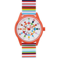 Montre Mixte Q&Q Smile Solar Floral Collection multicolore - QRP00J019Y