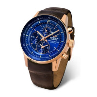 Montre VOSTOK Homme modèle Gaz World Timer Chrono New Bleue et Marron - YM86-560B289