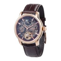 Montre LONGITUDE SHADOW Auto Dual Time EARNSHAW Homme Marron squelette - ES-8063-06
